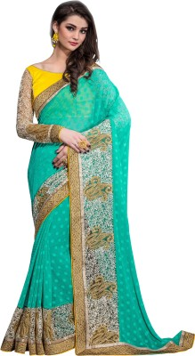 Crafts N Culture Embriodered, Woven Fashion Georgette Sari