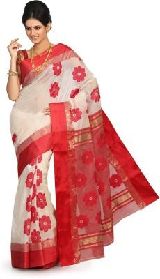 Crochetin Self Design Fashion Handloom Silk Sari