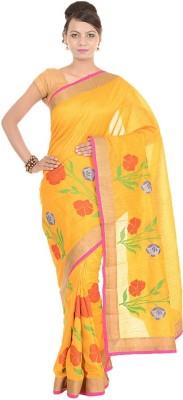 Kdc Sarees Embroidered Banarasi Handloom Tussar Silk Sari(Yellow)