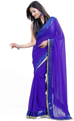 Swgopi Plain Daily Wear Georgette Sari