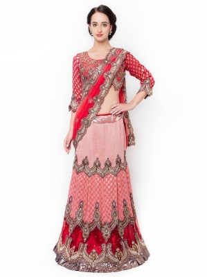 Aagaman Fashion Self Design Fashion Chiffon Saree(Red) at flipkart
