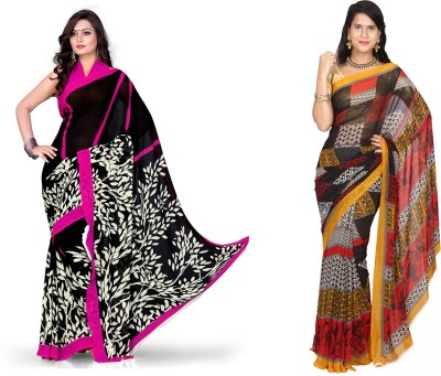 EthnicQueen Floral Print, Geometric Print Fashion Georgette Sari