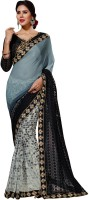 Viva N Diva Embroidered Fashion Georgette, Chiffon Sari(Grey, Black, White) best price on Flipkart @ Rs. 1499