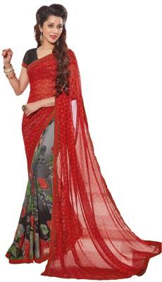 Salwar Studio Floral Print, Printed Daily Wear Synthetic Georgette Sari