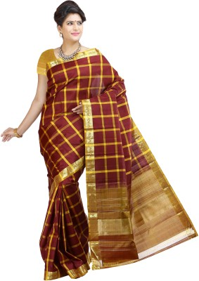 Aruna Sarees Checkered Kanjivaram Handloom Pure Silk Sari