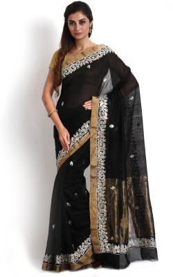 Kasturi-B Swadeshi Karigari Embriodered Chanderi Chanderi Sari