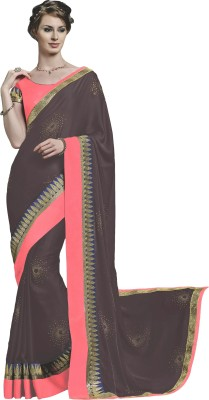 Jinaam Dress Embriodered, Plain Fashion Satin Sari