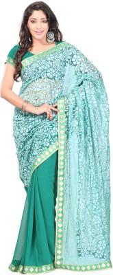 Dealtz Fashion Solid Bollywood Brasso, Chiffon Sari