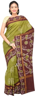 Madurai Classics Floral Print Sungudi Cotton Sari