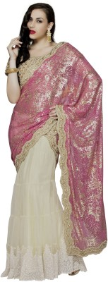Mahotsav Embroidered Fashion Net Saree(Beige) at flipkart