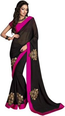 The Ethnic Chic Embriodered Fashion Pure Crepe Sari