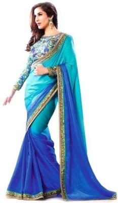 ADKfeb Solid Fashion Georgette Sari