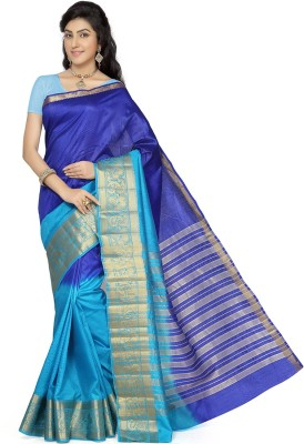 Rani Saahiba Self Design Fashion Tussar Silk Sari(Blue, Light Blue)