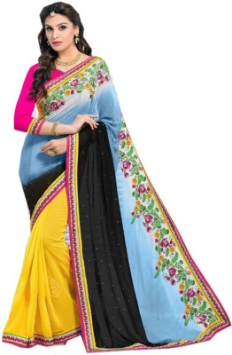 shoppers stall Floral Print Fashion Pure Georgette Sari