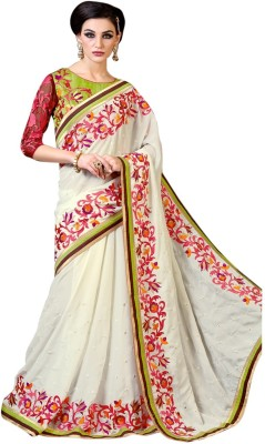 Brijraj Embriodered Fashion Satin, Chiffon Sari
