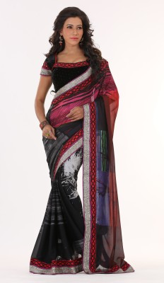 Moh Manthan Self Design Fashion Georgette Sari