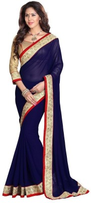 Saiyaara Fashion Plain, Embriodered Fashion Georgette Sari