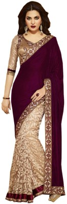 AKSH FASHION Embriodered Bollywood Velvet Sari