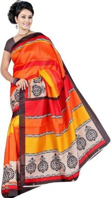 Garg Fashion Floral Print Bhagalpuri Silk Sari