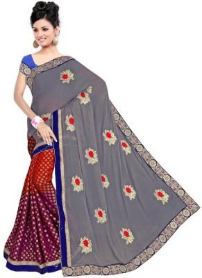 Sundari Fashion Embriodered Fashion Marble Padding, Viscose Sari