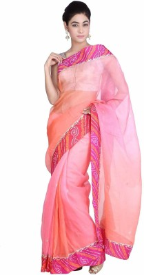 Geroo Embellished Bandhej Kota Silk Saree(Pink) at flipkart