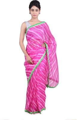 Geroo Striped Leheria Pure Silk Sari