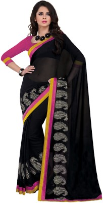 Subhash Sarees Solid, Floral Print Daily Wear Georgette Sari
