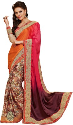 Pbs Prints Embriodered, Self Design Fashion Satin, Chiffon Sari