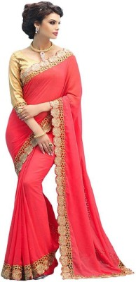 Om Shantam Sarees Embriodered, Self Design Bollywood Pure Georgette Sari