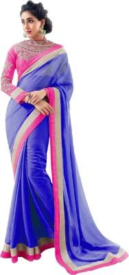 Aanaya Fashions Solid Bollywood Georgette Sari