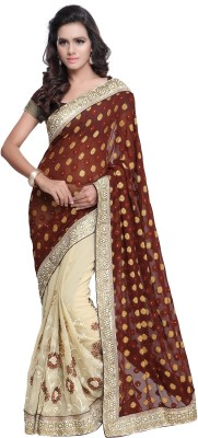 Navyafabrics Embriodered Fashion Jacquard, Georgette Sari