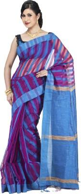 Guava Striped Ikkat Handloom Tussar Silk Sari