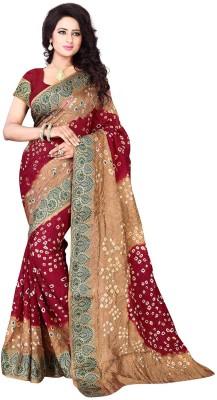 Wedding Villa Hand Painted Bandhani Handloom Art Silk Sari