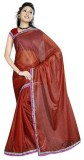 GSI Solid Daily Wear Viscose Saree (Brow...