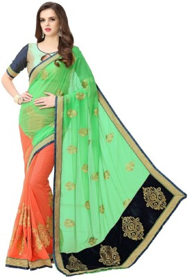 PANCHRATNA Self Design Fashion Georgette Sari(Multicolor)