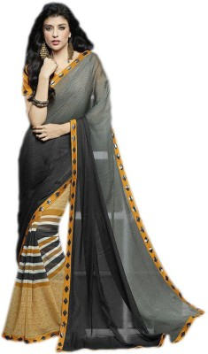 KL COLLECTION Striped, Plain Fashion Lycra Sari