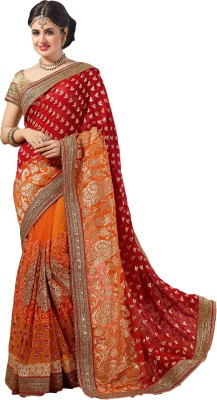M.S.Retail Embroidered Bollywood Jacquard, Net, Georgette Sari(Red) at flipkart