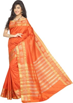 Rani Saahiba Woven Fashion Tussar Silk Sari(Orange)