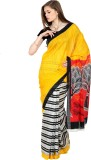 Aaboli Striped Fashion Chiffon Saree (Ye...