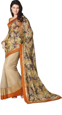 Queenbee Floral Print, Self Design Fashion Georgette Sari