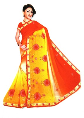 Sandhiya Embriodered Banarasi Georgette Sari