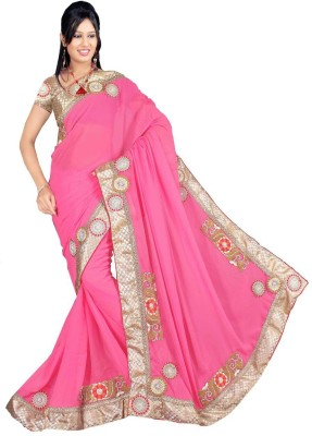 sanginienterprise Embriodered Fashion Georgette Sari