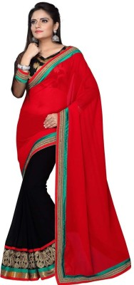 Nairiti Fashions Solid Bollywood Georgette Sari