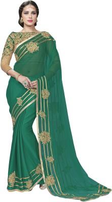 Mahotsav Self Design Fashion Chiffon Saree(Green) at flipkart