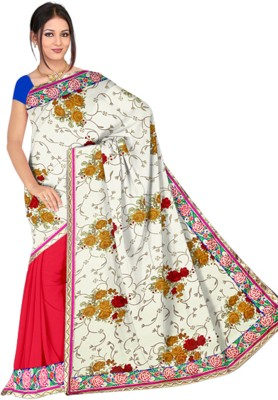 Utsava Printed, Solid Bollywood Viscose Sari