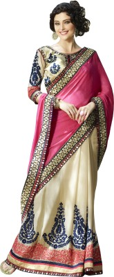 Kvsfab Embroidered Fashion Georgette Saree(Pink) at flipkart