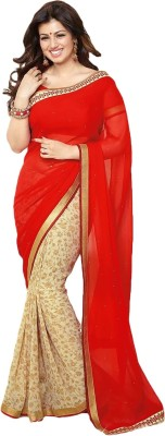Krishna Emporia Solid Fashion Georgette Sari