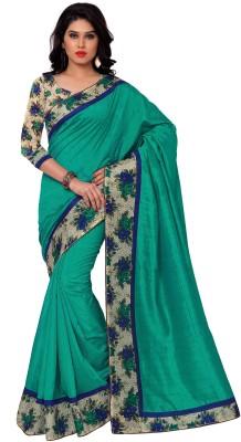 Sarvagny Clothing Solid, Floral Print Bhagalpuri Banarasi Silk Sari