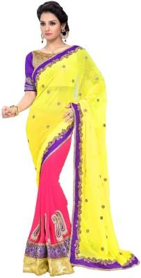 B W Embriodered Bollywood Chiffon, Georgette Sari