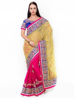 Aagaman Fashion Self Design Fashion Georgette Saree(Magenta) at flipkart